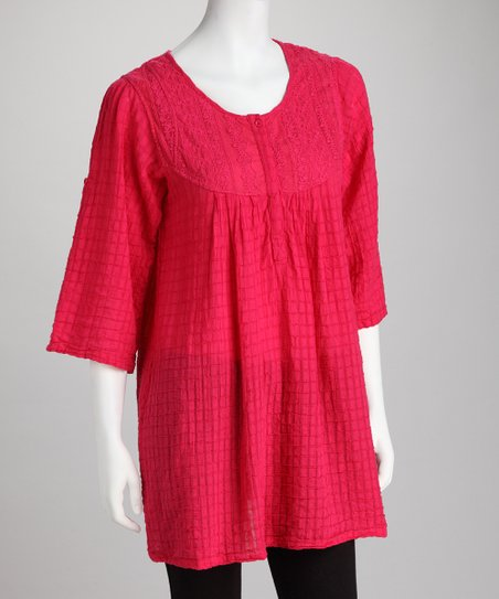 Hot Pink Checkered Stitch Tunic