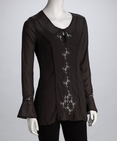 MONORENO Charcoal Embroidered Diamond Top