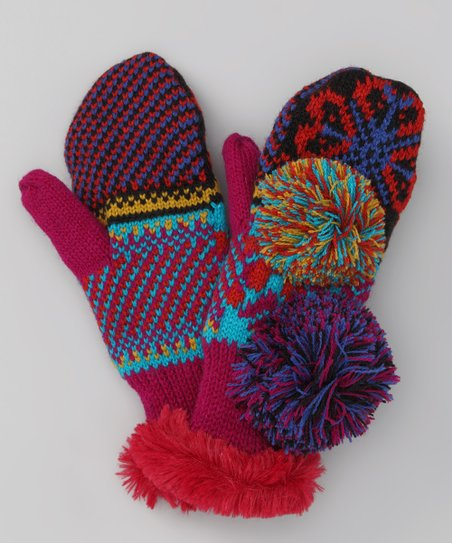 Pink Flower Fair Isle Mittens - Kids