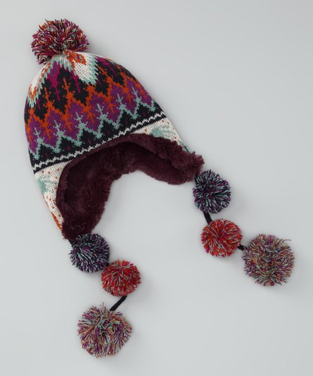 Purple Boho Earflap Beanie - Kids