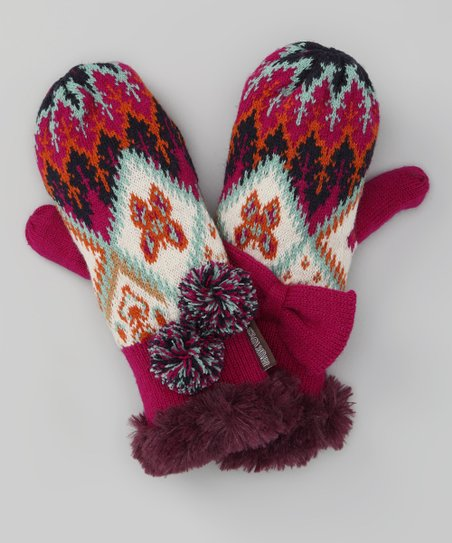 Purple Boho Mittens - Kids