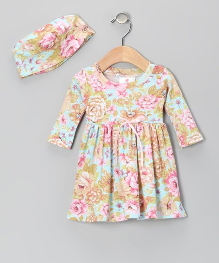 Collette's Floral Organic Dolly Dress & Beanie - Toddler