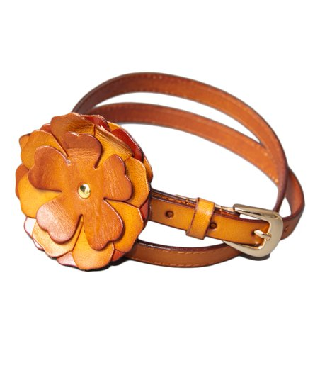Gold Rust Peony Leather Bump Belt
