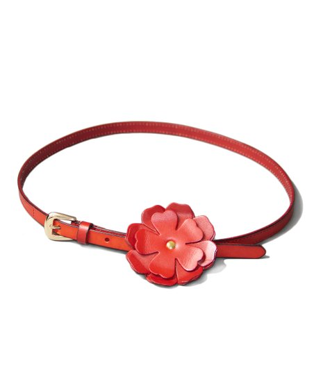 Red Peony Leather Bump Belt