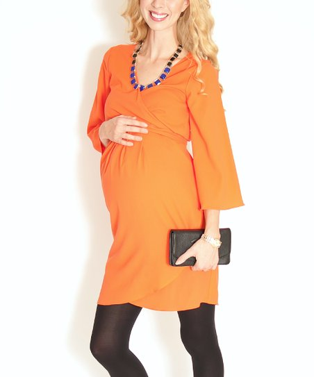 Orange Is the New Red Maternity Dress