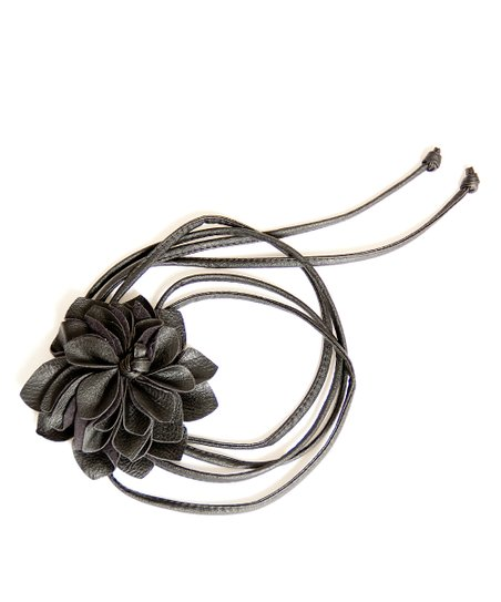 Black Flower Bump Belt