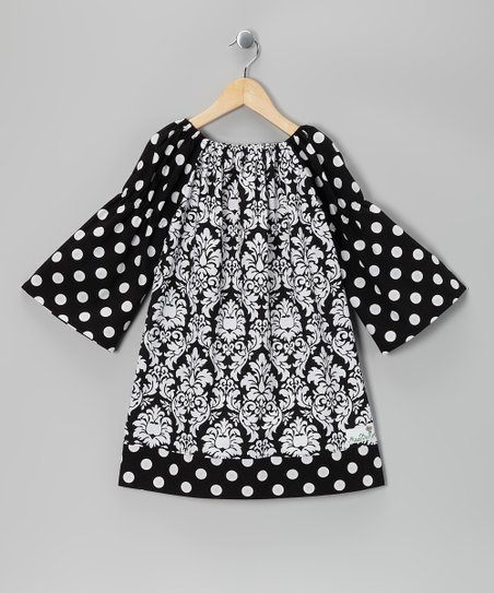 Black Damask Peasant Dress - Infant, Toddler & Girls