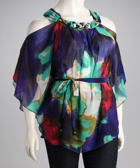 Madison Paige Purple &amp; Blue Floral Chiffon Plus-Size Cutout Top