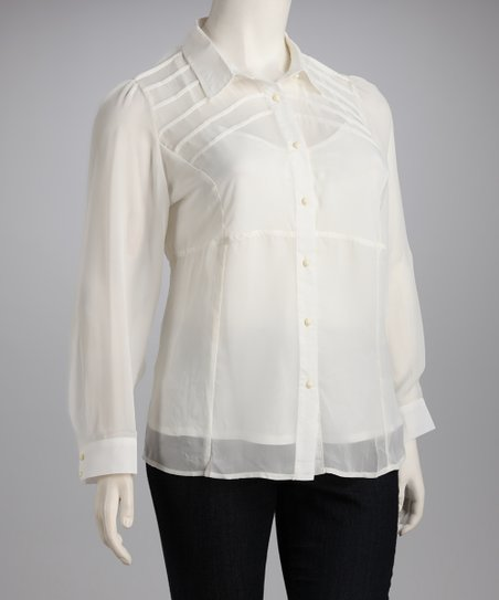 White Sheer Button-Up - Plus
