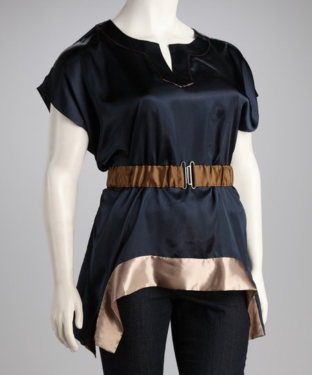 Navy & Taupe Color Block Belted Top - Plus