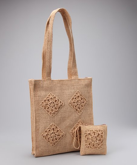 Beige Embroidered Shoulder Bag