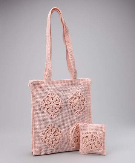 Pink Embroidered Shoulder Bag