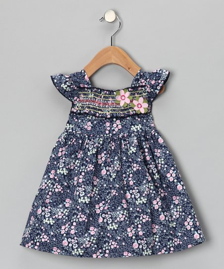 Maggie Peggy Blue Smocked Floral Dress