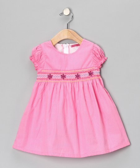Pink Smocked Swiss Dot Dress - Toddler & Girls