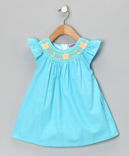 Maggie Peggy Blue Smocked Butterfly Dress