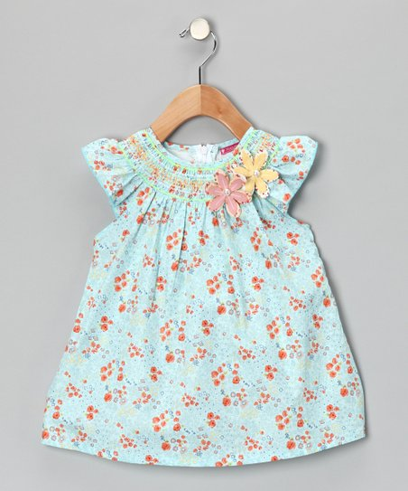 Maggie Peggy Blue & Orange Smocked Floral Dress