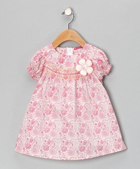 Pink & White Shirred Floral Dress - Girls