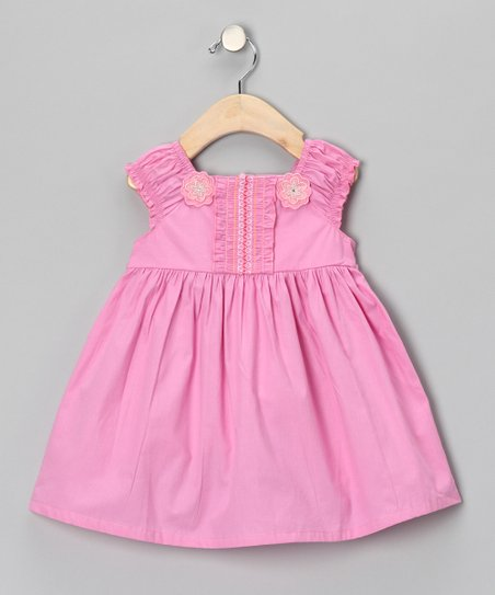 Pink Embroidered Flower Dress - Girls