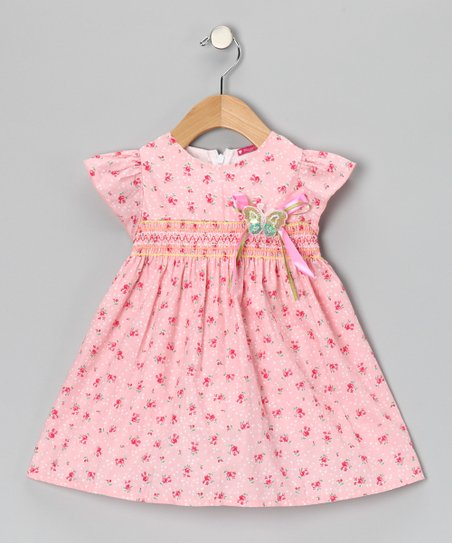 Pink Smocked Floral Butterfly Dress - Toddler
