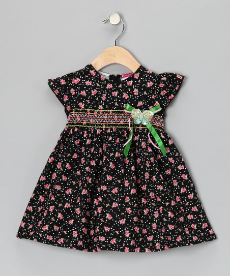 Black Smocked Floral Butterfly Dress - Girls