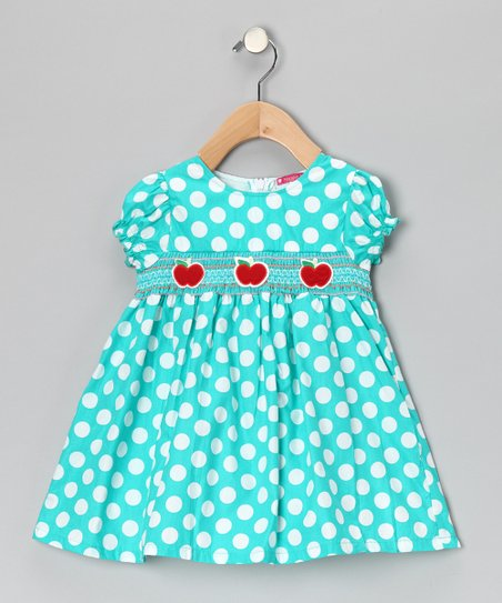 Blue Smocked Polka Dot Apple Dress - Girls