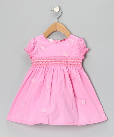 Pink Smocked Daisy Dress - Girls