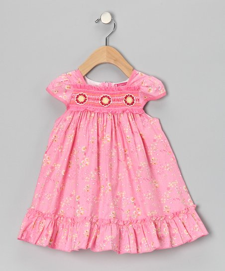 Pink & Yellow Smocked Floral Dress - Girls