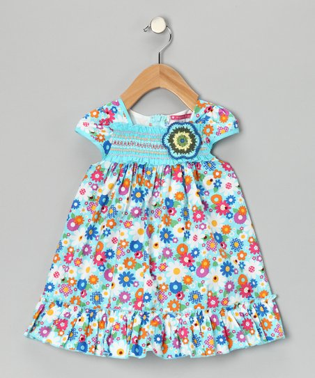 Blue Smocked Floral Rainbow Dress - Infant & Girls