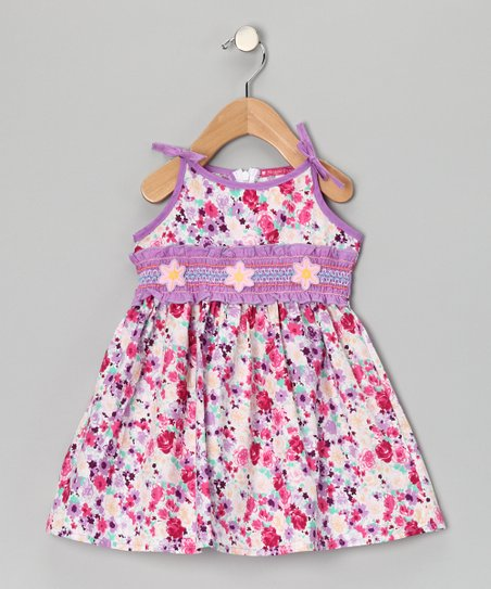 Purple & Pink Smocked Floral Dress - Girls