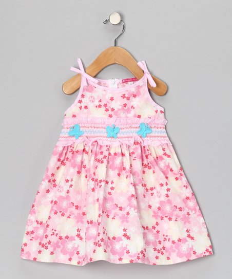 Pink & Aqua Smocked Floral Dress - Girls