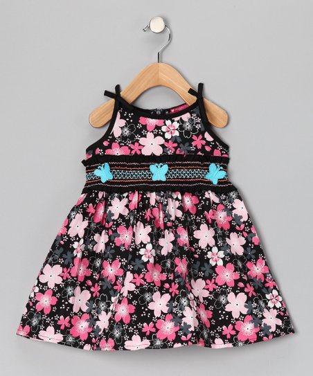 Pink Smocked Floral Butterfly Dress - Infant, Toddler & Girls