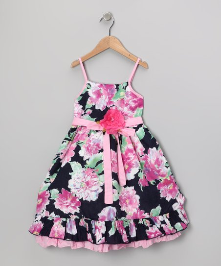 Navy & Pink Floral Dress - Girls