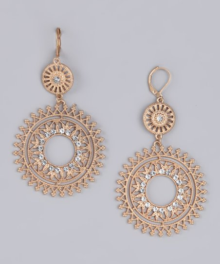 Gold & Crystal Filigree Double Drop Gypsy Earrings