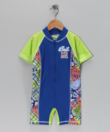 Blue One-Piece Rashguard - Toddler
