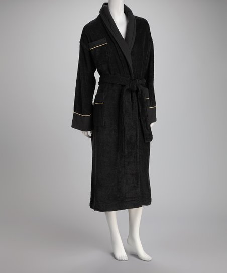 Black Velour Large Bathrobe