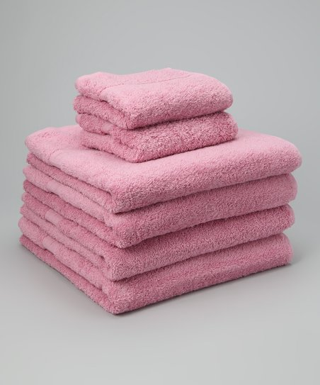 Pink Busseto Six-Piece Towel Set