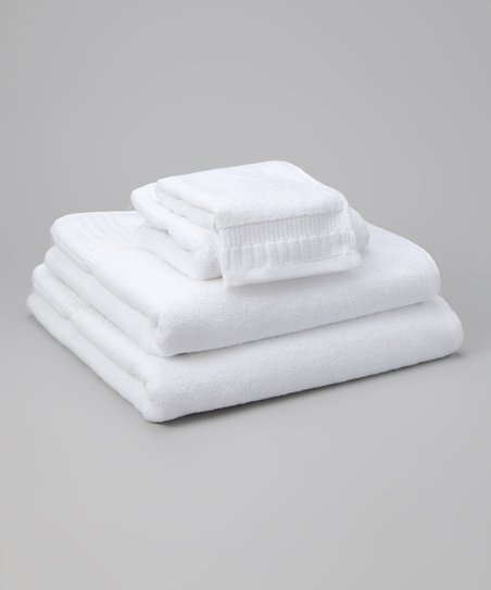 White Piano Key Jacquard Five-Piece Towel Set