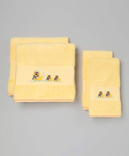 Yellow Duck Embroidered Towel Set