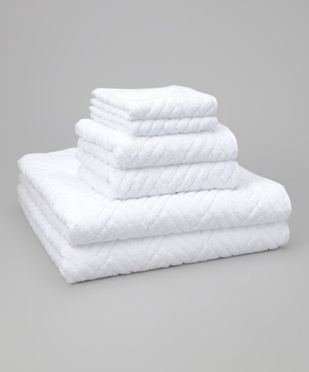 White Jacquard Orleans Six-Piece Towel Set