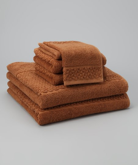 Brown Jacquard Towel Set