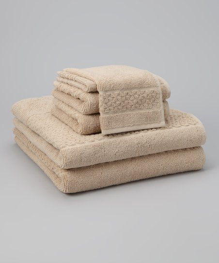 Caramel Jacquard Mei-Tal Six-Piece Towel Set