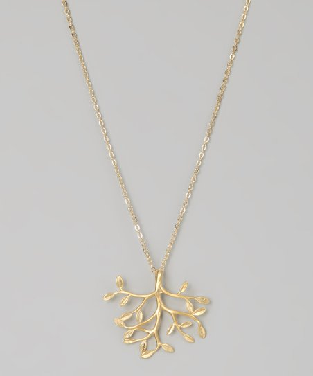 Matte Gold Leafy Tree Necklace