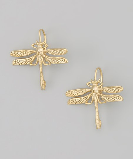 Matte Gold Dragonfly Earrings