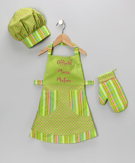 Green &#039;Official Mess Maker&#039; Apron Set