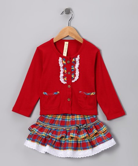 Red & Yellow Plaid Cardigan & Skirt - Infant & Toddler