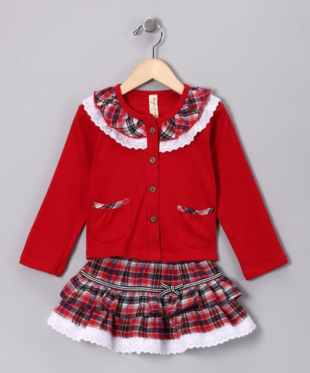 Red Plaid Lace Ruffle Top & Skirt - Infant & Toddler