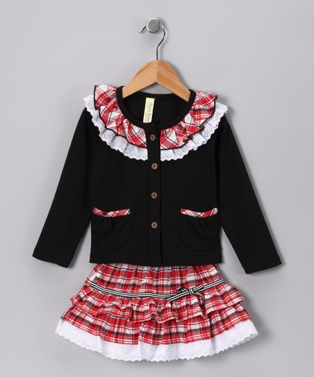 Black & Red Plaid Ruffle Top & Skirt - Infant