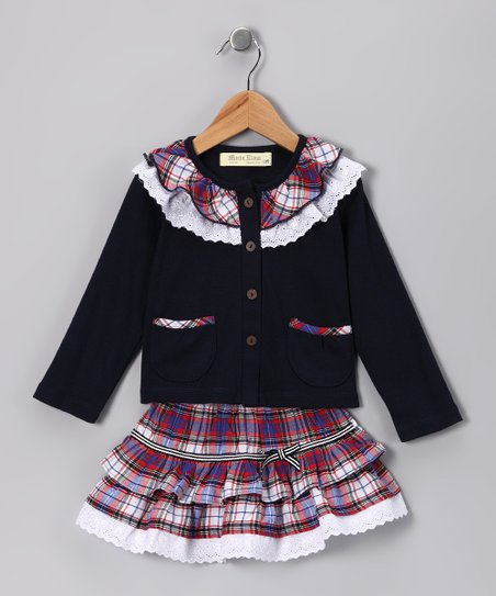 Navy Plaid Lace Ruffle Top & Skirt - Infant, Toddler & Girls