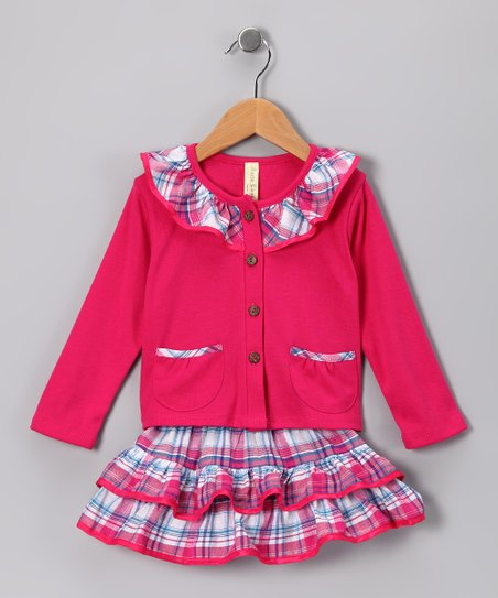 Pink & White Plaid Ruffle Top & Skirt - Infant, Toddler & Girls