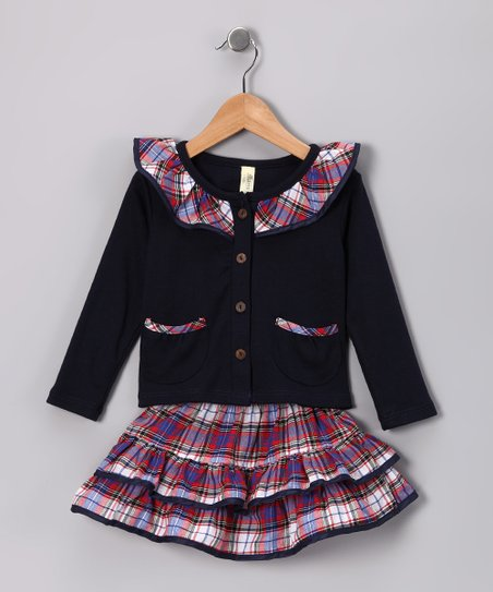 Navy & Red Plaid Ruffle Top & Skirt - Infant & Toddler